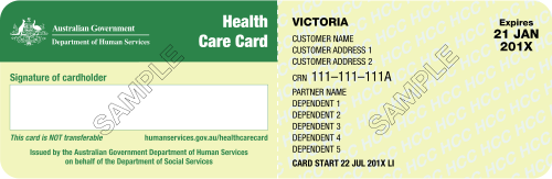 Victorian health care card